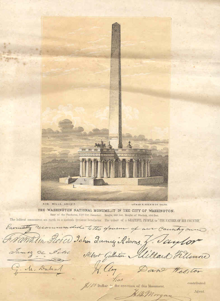 This flyer promoting the completion of the Washington Monument was signed by Endorsements for fundraising on the flyer are signed by Millard Fillmore, Franklin Pierce, and John Quincy Adams. Image part of the South Carolina Historical Society's collections.
